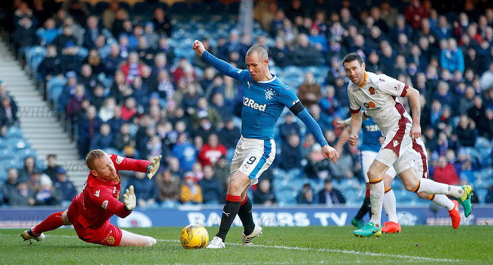 Kenny Miller one on one with keeper Craig Samson who makes a save