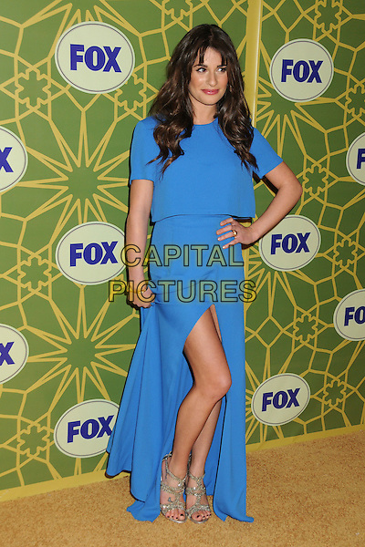 Lea Michele.FOX Winter 2012 All-Star Party held at Castle Green, Pasadena, California, USA..January 8th, 2012.full length blue dress slit split hand on hip silver sandals .CAP/ADM/BP.©Byron Purvis/AdMedia/Capital Pictures.