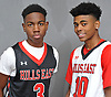 Savion Lewis, left, and teammate Julien Crittendon of Half Hollow Hills East pose for a portrait during Newsday's 2017-18 varsity boys basketball season preview photo shoot at company headquarters in Melville on Monday, Dec. 4, 2017.