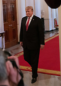 United States President Donald J. Trump arrives in the East Room of the White House in Washington, DC to make remarks at the 2019 Prison Reform Summit on Monday, April 1, 2019.<br /> Credit: Ron Sachs / CNP