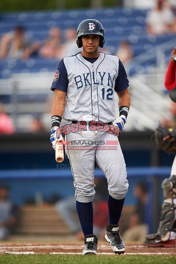 Brooklyn Cyclones left fielder Hengelbert Rojas (12) at bat during a game against the Batavia Muckdogs on July 6, 2016 at Dwyer Stadium in Batavia, New York.  Batavia defeated Brooklyn 15-2.  (Mike Janes/Four Seam Images)
