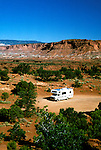 Utah: RV Travel, lifestyle, vacation, vertical scenic landscape .Photo copyright Lee Foster, www.fostertravel.com..Photo #: rvlife105, 510/549-2202, lee@fostertravel.com.