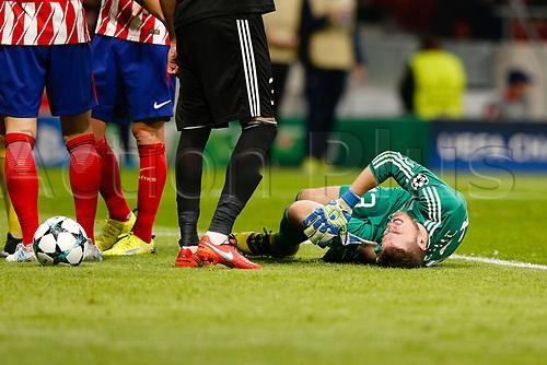 31st October 2017, Wanda Metropolitano, Madrid, Spain; UEFA Champions League, Atletico Madrid versus Qarabag FK; Ibrahim Sehic (13) of Qarabag is down injured