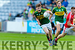 Brian Friel Kerry in action against James O'Reilly Louth in the All Ireland Minor Football Quarter Finals at O'Moore Park, Portlaoise on Saturday.