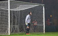 Defender prepares for a penalty as he steps into become goalkeeper during the Sky Bet League 2 match between Wycombe Wanderers and Morecambe at Adams Park, High Wycombe, England on 2 January 2016. Photo by Andy Rowland / PRiME Media Images