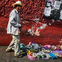 A Mexican curandero (a native healer) sells herbs and indigenous medicines on the street of Atlixco, Puebla, Mexico, 31 March 2018.