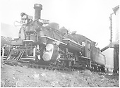 K-28 #474 taking water at Crested Butte.<br /> D&amp;RGW  Crested Butte, CO  8/1940
