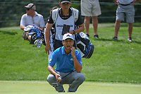 Xander Schauffele (USA) lines up his putt on 17 during 2nd round of the World Golf Championships - Bridgestone Invitational, at the Firestone Country Club, Akron, Ohio. 8/3/2018.<br /> Picture: Golffile | Ken Murray<br /> <br /> <br /> All photo usage must carry mandatory copyright credit (© Golffile | Ken Murray)