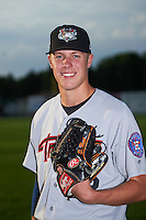 Tri-City ValleyCats pitcher Dustin Hunt (22) poses for a photo before a game against the Auburn Doubledays on August 25, 2016 at Falcon Park in Auburn, New York.  Tri-City defeated Auburn 4-3.  (Mike Janes/Four Seam Images)