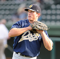 Outfielder Mike Ferraro (24) of the Charleston RiverDogs, Class A affiliate of the New York Yankees, prior to a game against the Greenville Drive on July 31, 2011, at Fluor Field at the West End in Greenville, South Carolina. (Tom Priddy/Four Seam Images)