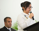 """Eighth grader Allison Olmedo presents, """"Being Who I Am"""" during The Rusk School ribbon cutting ceremony, April 7, 2014."""