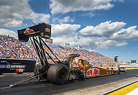 Jul 8, 2017; Joliet, IL, USA; NHRA top fuel driver Leah Pritchett during qualifying for the Route 66 Nationals at Route 66 Raceway. Mandatory Credit: Mark J. Rebilas-USA TODAY Sports