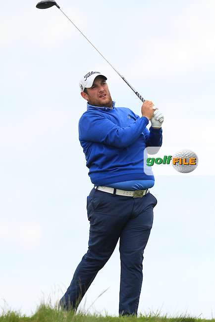 Alexander Culverwell (Scotland) on the 14th tee during Round 3 of the Irish Amateur Open Championship at Royal Dublin on Saturday 9th May 2015.<br /> Picture:  Thos Caffrey / www.golffile.ie