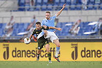 Nikolas Spalek of Brescia and Manuel Lazzari of Lazio<br /> during the Serie A football match between SS Lazio  and Brescia Calcio at stadio Olimpico in Roma (Italy), July 29th, 2020. Play resumes behind closed doors following the outbreak of the coronavirus disease. <br /> Photo Antonietta Baldassarre / Insidefoto