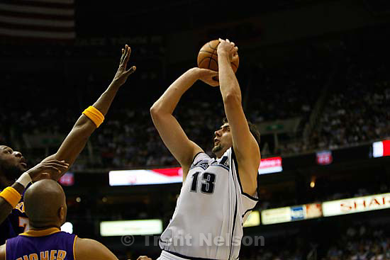 Utah Jazz vs. Los Angeles Lakers, game six, NBA playoffs second round, Friday, May 16, 2008. Utah Jazz forward Mehmet Okur (13), of Turkey,