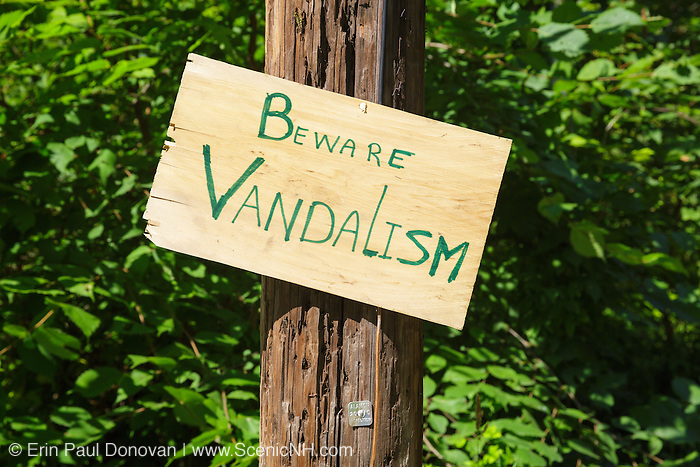 Beware of Vandalism sign in New Hampshire USA