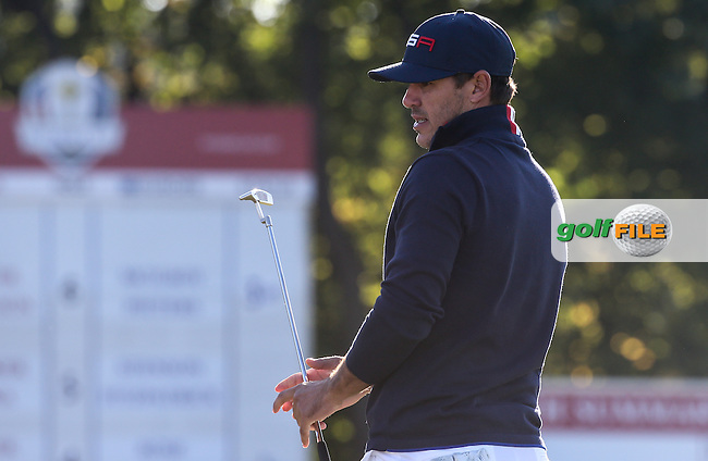 Brooks Koepka (Team USA) during the Saturday Morning Foursomes, at the 41st Ryder Cup 2016, at Hazeltine National Golf Club, Minnesota, USA.  01View of the 10th2016. Picture: David Lloyd | Golffile.