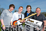 Castleisland band Fallings who have just set up in London with a new manager were presented a guitar by Robert Quinlan from Freya Guitars on Tuesday before they headed off to London on Wednesday l-r: Robbie O'Connor, Denis Cremin, David Nelligan and Robert Quinlan