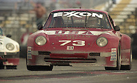 The #73 Porsche 911 Carerra RSR of Jack Lewis, Edison Lluch, Kevin Buckler, and Vic Rice races to a 16th place finish in the 24 Hours of Daytona, IMSA race, Daytona International Speedway, Daytona Beach , FL, February 4, 1996.  (Photo by Brian Cleary/www.bcpix.com)