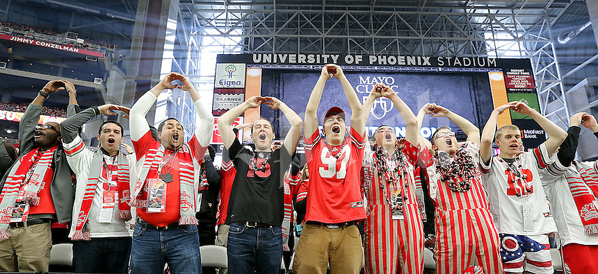 And end zone full of Buckeye fans celebrate another first half touchdown against Notre Dame in the Fiesta Bowl played at University of Phoenix Stadium in Glendale, AZ on January 1, 2016.  (Chris Russell/Dispatch Photo)