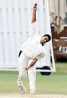 M Arshad bowls for Harrow during the Middlesex County Cricket League Division Three game between North Middlesex and Harrow at Park Road, Crouch End on Sat Aug 7, 2010.