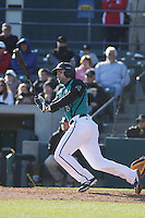 Coastal Carolina Chanticleers infieder Rich Witten #21 at bat during a game against the North Carolina State Wolfpack at BB&T Coastal Field on February 26, 2012 in Myrtle Beach, SC.  Coastal Carolina defeated N.C. State 3-2. (Robert Gurganus/Four Seam Images)