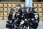 V&auml;ster&aring;s 2015-09-05 Bandy Elitserien Tillberga  - Katrineholm V&auml;rmbol BS :  <br /> TB V&auml;ster&aring;s Robin Andersson klappas om av Rinat Shamsutov och lagkamrater efter ett av sina m&aring;l under matchen mellan Tillberga  och Katrineholm V&auml;rmbol BS <br /> (Foto: Kenta J&ouml;nsson) Nyckelord:  Bandy Tr&auml;ningsmatch ABB Arena Syd Tillberga TB V&auml;ster&aring;s Katrineholm V&auml;rmbol BS KVBS jubel gl&auml;dje lycka glad happy portr&auml;tt portrait