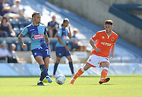 Wycombe Wanderers' Sam Saunders under pressure from Blackpool's Jordan Thompson<br /> <br /> Photographer Kevin Barnes/CameraSport<br /> <br /> The EFL Sky Bet League One - Wycombe Wanderers v Blackpool - Saturday 4th August 2018 - Adams Park - Wycombe<br /> <br /> World Copyright &copy; 2018 CameraSport. All rights reserved. 43 Linden Ave. Countesthorpe. Leicester. England. LE8 5PG - Tel: +44 (0) 116 277 4147 - admin@camerasport.com - www.camerasport.com