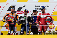 3rd November 2019; Sepang Circuit, Sepang Malaysia; MotoGP Malaysia, Race Day;  Marc Marquez, Winner Maverick Vinales and 3rd placed Andrea Dovizioso on the podium - Editorial Use