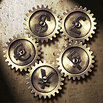 Illustrative image of various currency signs on gears representing currency exchange