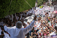 "June 24, 2018: Andres Manuel Lopez Obrador, an opposition candidate of MORENA party running for presidency, during his campaign rally at ""Jardin Guerrero"" in Queretaro City, Mexico. National elections will be hold on July 1."