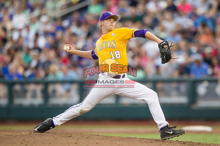 LSU Tigers pitcher Austin Bain (18) delivers a pitch to the plate against the TCU Horned Frogs in Game 10 of the NCAA College World Series on June 18, 2015 at TD Ameritrade Park in Omaha, Nebraska. TCU defeated the Tigers 8-4, eliminating LSU from the tournament. (Andrew Woolley/Four Seam Images)