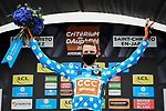 Michael Schär (SUI) CCC Team wears the first mountains Polka Dot Jersey at the end of Stage 1 of Criterium du Dauphine 2020, running 2185km from Clermont-Ferrand to Saint-Christo-en-Jarez, France. 12th August 2020.<br /> Picture: ASO/Alex Broadway | Cyclefile<br /> All photos usage must carry mandatory copyright credit (© Cyclefile | ASO/Alex Broadway)