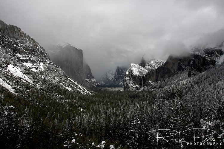 A spring storm lingers over Yosemite National Park.