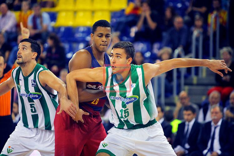League ACB-ENDESA 2016/2017. Game: 5.<br /> FC Barcelona Lassa vs BEP-Real Betis Energia Plus: 80-58.<br /> Alfonso Sanchez, Wesley Sena &amp; Emanuel Cate.