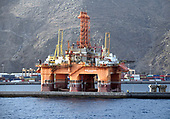 Mothballed oil rigs in Santa Cruz port on Tenerife. The Canary Islands (Tenerife and Gran Canaria) ports are used by a number of oil companies for mothballing/decommissioning rigs from the African and South American for long periods due to the oversupply and fall in crude oil prices. Date taken: 14 May 2017Mothballed oil rigs in the Santa Cruz port on Tenerife on Saturday, November 11, 2017. The Canary Islands ports are used by a number of oil companies for mothballing (preserving and storing production assets without using them to produce) rigs from the African and South American off shore oil fields for long periods of time due to the oversupply of product and the resulting fall in crude oil prices. <br /> Credit: Ron Sachs / CNP
