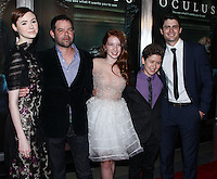"HOLLYWOOD, LOS ANGELES, CA, USA - APRIL 03: Rory Cochrane, Annalise Basso, Karen Gillan, Garrett Ryan, James Lafferty at the Los Angeles Screening Of Relativity Media's ""Oculus"" held at TCL Chinese 6 Theatre on April 3, 2014 in Hollywood, Los Angeles, California, United States. (Photo by Xavier Collin/Celebrity Monitor)"