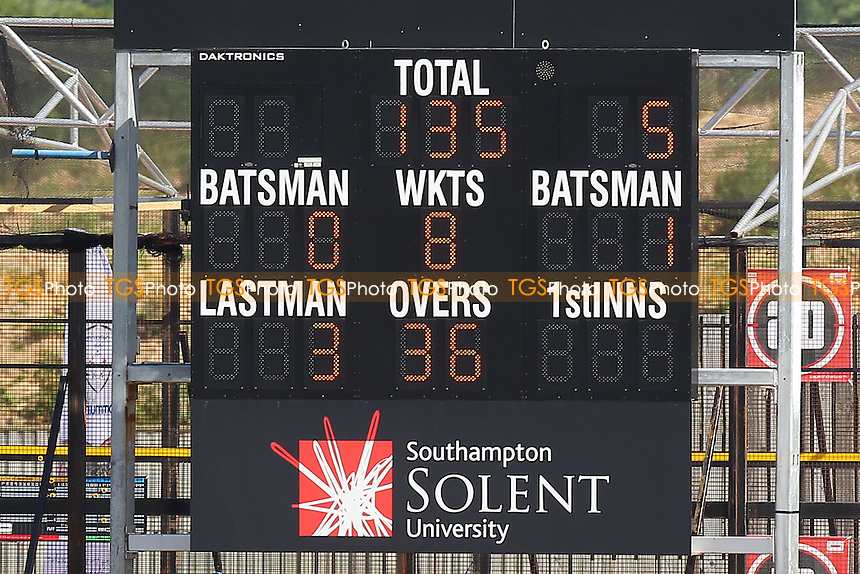 The scoreboard shows that Essex are 135 for 8 wickets, chasing 606 runs to win - Hampshire CCC vs Essex CCC - LV County Championship Division Two Cricket at the Ageas Bowl, West End, Southampton - 17/06/14 - MANDATORY CREDIT: Gavin Ellis/TGSPHOTO - Self billing applies where appropriate - 0845 094 6026 - contact@tgsphoto.co.uk - NO UNPAID USE
