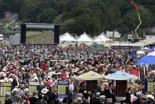 18 June 2004: Crowds and bookmakers at Royal Ascot. Photo: Steve Bardens/Action Plus...040618 horse racing screen giant