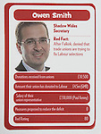 "© Joel Goodman - 07973 332324 . No syndication permitted . 29/09/2013 . Manchester , UK . Owen Smith . "" Top Trumped by the Unions "" cards handed out at the Conservative Party Conference . The Conservative Party Conference at Manchester Central . Photo credit : Joel Goodman"