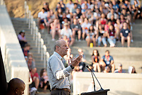 President Jonathan Veitch<br /> The O-Team cheers for parents and students at the Welcome to Oxy event at the Remsen Bird Hillside Theater (Greek Bowl) as part of the official Orientation welcome. Incoming first-years and their families are welcomed by enthusiastic O-Team members and other members of the community during Occidental College's Fall move-in and orientation for the class of 2023, Aug. 22, 2019.<br /> (Photo by Marc Campos, Occidental College Photographer)