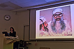 "Hempstead, New York, U.S. 12th November, 2013. Janet Hamlin, a courtroom artist covering the military tribunals at Guantanamo Bay since 2006, shows her charcoal drawings, including of Khalid Sheikh Mohammad, and discusses her work at Hofstra University. Much of the time she was the only journalist providing a visual record of the events at the United States naval base in Cuba, and her new book ""Sketching Guantanomo"" is a collection of her images."