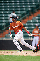 Kenny Baez (8) follows through on a swing during the Dominican Prospect League Elite Underclass International Series, powered by Baseball Factory, on July 21, 2018 at Schaumburg Boomers Stadium in Schaumburg, Illinois.  (Mike Janes/Four Seam Images)
