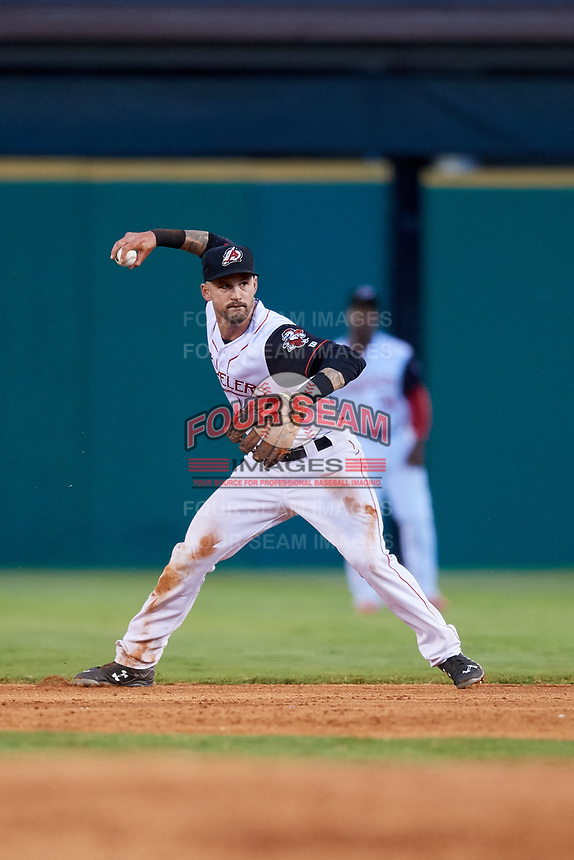 Arkansas Travelers second baseman Jeff Kobernus (4) throws during a game against the Midland RockHounds on May 25, 2017 at Dickey-Stephens Park in Little Rock, Arkansas.  Midland defeated Arkansas 8-1.  (Mike Janes/Four Seam Images)