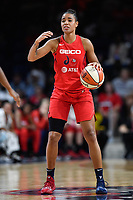 Washington, DC - July 13, 2019: Washington Mystics guard Natasha Cloud (9) calls out a play during game between Las Vegas Aces and Washington Mystics at the Entertainment & Sports Arena in Washington, DC. The Aces defeated the Mystics 81-85. (Photo by Phil Peters/Media Images International)