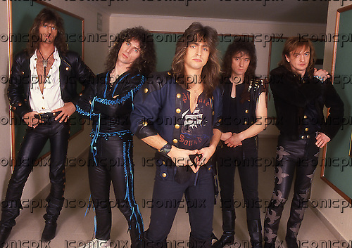 VICTORY - L-R: Herman Frank, Tommy Newton, Frernando Garcia, Peter Knorn, Fritz randow - Photosession in Hamburg Germany - 1990.  Photo credit: George Chin/IconicPix