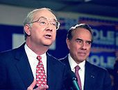 United States Senator Phil Gramm (Republican of Texas), left, announces his endorsement of US Senate Majority Leader Bob Dole (Republican of Kansas), right, a candidate for the Republican Party nomination for President of the United States, in Manchester, New Hampshire on February 18, 1996.<br /> Credit: Ron Sachs / CNP