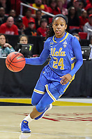 College Park, MD - March 25, 2019: UCLA Bruins guard Japreece Dean (24) dribbles the ball during game between UCLA and Maryland at  Xfinity Center in College Park, MD.  (Photo by Elliott Brown/Media Images International)