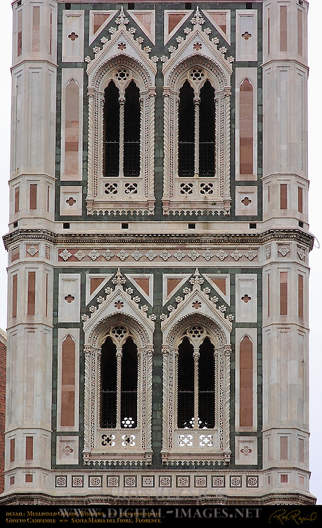 Detail of Gothic Mullioned Windows (first two stages) Giotto Campanile Santa Maria del Fiore Florence
