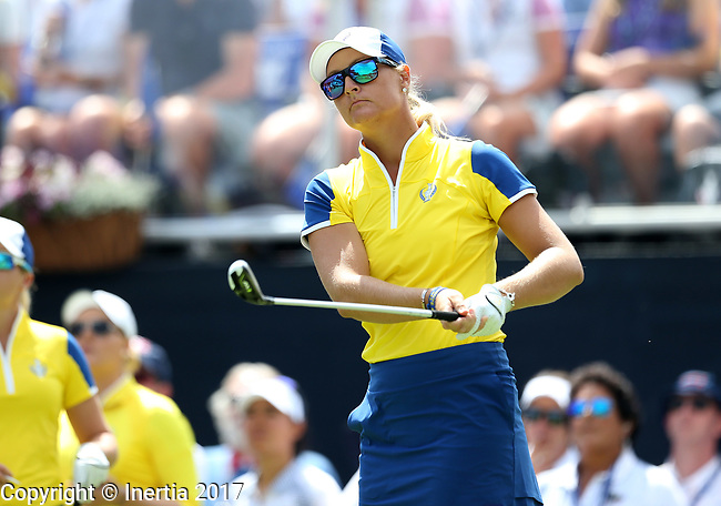 DES MOINES, IA - AUGUST 19: Europe's Anna Nordqvist watches her tee shot on the 1st hole of their afternoon four-ball match Saturday at the 2017 Solheim Cup in Des Moines, IA. (Photo by Dave Eggen/Inertia)